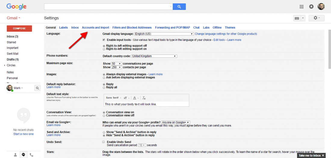 Gmail accounts option location screenshot
