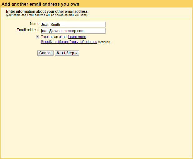 Gmail account username and password box screenshot