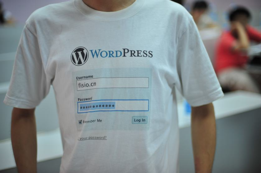 A man wearing a WordPress t-shirt